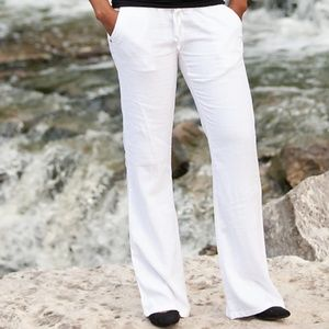Smocked Waist Low Rise Linen Pants
